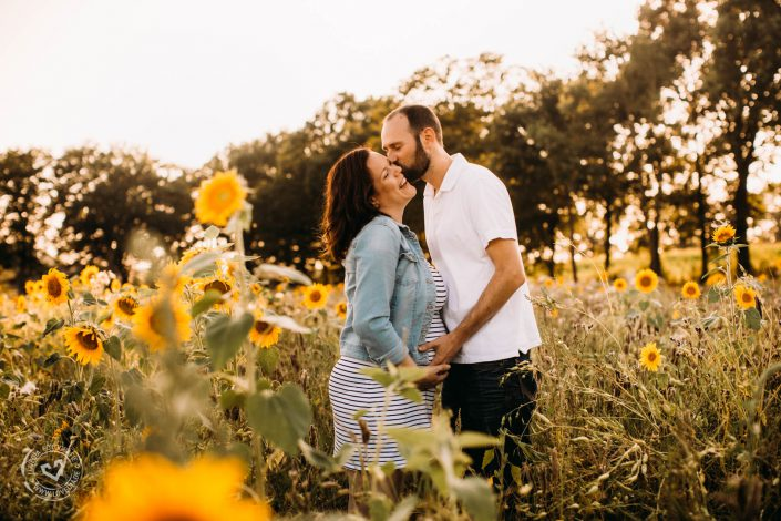 Babybauch-Fotoshooting in einem Sonnenblumenfeld